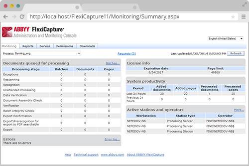 FlexiCapture web-based Administration and Monitoring Console