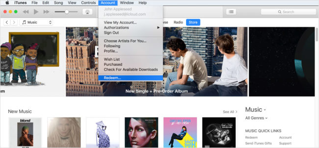 itunes redeem promo code on computer account