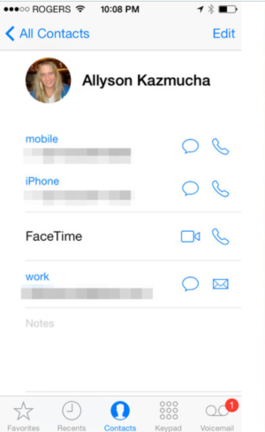 iOS Face time Contacts Call from iPhone