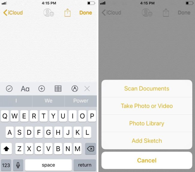 iOS 11 scan documents from Notes