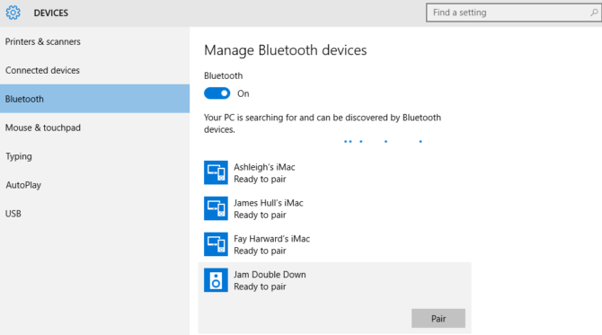 share internet connection bluetooth settings