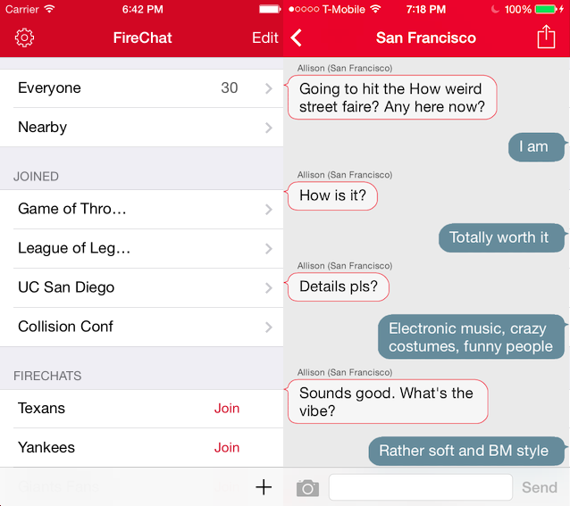 Firechat chat offline messager app