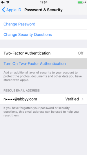 Protect data confidentiality Apple ID