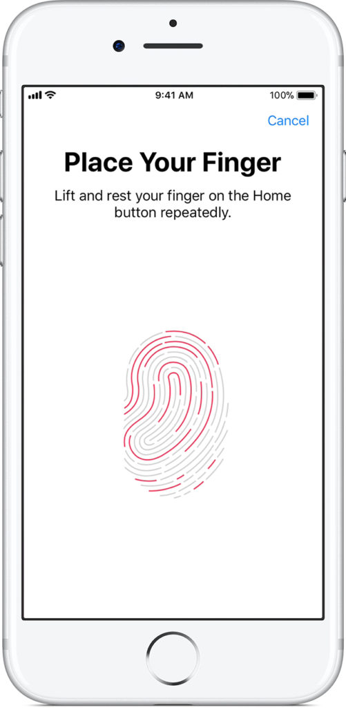 settings finger touch-id iPhone