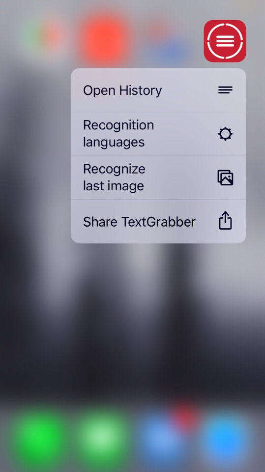 abbyy textgrabber share button with 3d touch