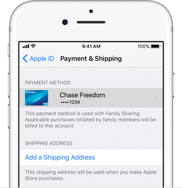 payment and shipping apple id