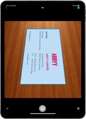 scan a business card