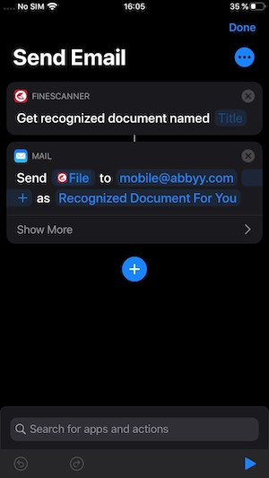 ABBYY finescanner ios 13 shortcuts