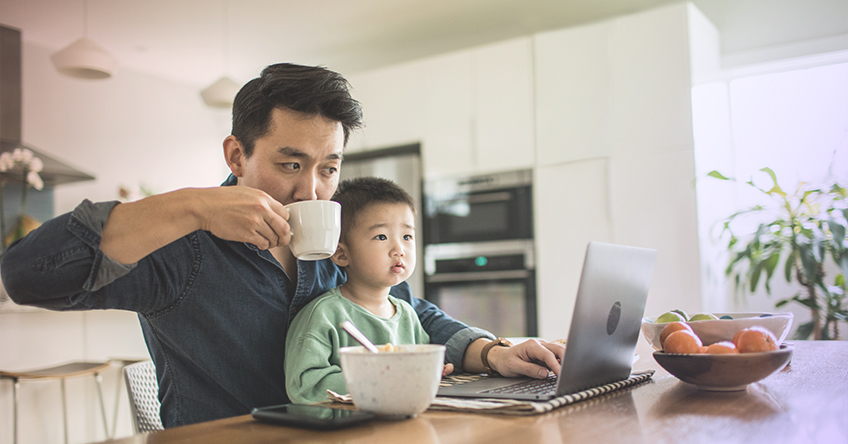 work from home family