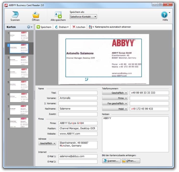 Visitenkarten digitalisieren und kontaktdaten extrahieren abbyy abbyy business card reader 20 for windows bis zu 10 visitenkarten gleichzeitig einscannen visitenkarten werden gelesen colourmoves